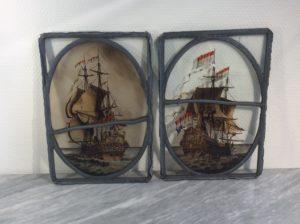 antieke glas in lood raampjes - nog 1 stuks  €50