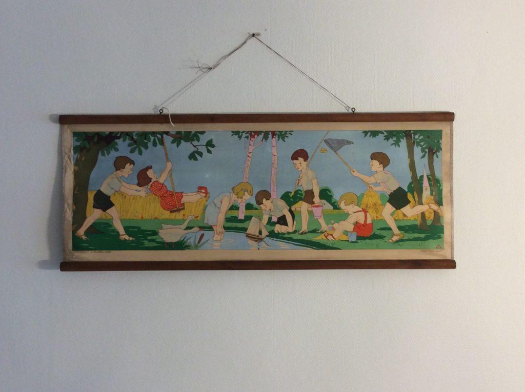 oude schoolplaat spelende kinderen - zomer    €110