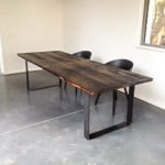 Intter, maatwerk, tafel op maat, gerecycleerde materialen, wagonplanken, eik