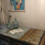 Intter, metalen tafel gerecycleerde metalen, recycle art, custommade, eigenmaak, design, roest, roestig design, madame jeanne, dame jeanne, pauwenveren